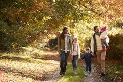 Μπροστινή άποψη της οικογένειας που απολαμβάνει τον περίπατο φθινοπώρου στην επαρχία στοκ εικόνα