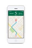 Μπροστινή άποψη του άσπρου έξυπνου τηλεφώνου με τη ναυσιπλοΐα app ΠΣΤ χαρτών στο τ Στοκ Φωτογραφίες
