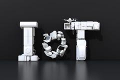 Μπροστινή άποψη του κειμένου IoT που συντίθεται από τις έξυπνες συσκευές στο μαύρο υπόβαθρο απεικόνιση αποθεμάτων
