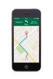 Μπροστινή άποψη του μαύρου έξυπνου τηλεφώνου με τη ναυσιπλοΐα app ΠΣΤ χαρτών στο τ Στοκ φωτογραφία με δικαίωμα ελεύθερης χρήσης