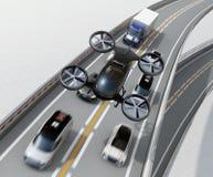 Μπροστινή άποψη του μαύρου κηφήνα επιβατών που πετά πέρα από τα αυτοκίνητα στη βαριά κυκλοφοριακή συμφόρηση απεικόνιση αποθεμάτων