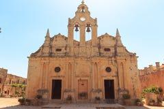 Μπροστινή άποψη του μοναστηριού Arkadi, Arkadi, Κρήτη, Ελλάδα, Ευρώπη Στοκ Φωτογραφίες