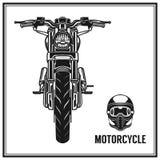 Μπροστινή άποψη Motorcyle και σύνολο κρανών Στοκ Εικόνες