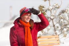 μπροστινή γυναίκα σκι κα&lambd στοκ εικόνες με δικαίωμα ελεύθερης χρήσης
