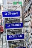Μπροστινή κάλυψη της Le Monde της γαλλικής εφημερίδας Στοκ φωτογραφία με δικαίωμα ελεύθερης χρήσης