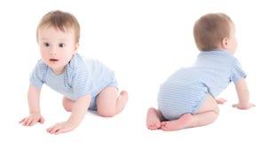 Μπροστινή και πίσω άποψη του μικρού παιδιού αγοράκι που απομονώνεται στο λευκό στοκ εικόνες