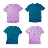 Μπροστινή και πίσω άποψη των χρωματισμένων μπλουζών στο άσπρο υπόβαθρο Στοκ Εικόνα