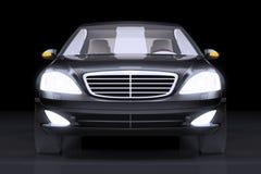 Μπροστινή πλάγια όψη σχετικά με το μαύρο αυτοκίνητο γοήτρου Στοκ Φωτογραφίες