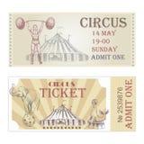 Μπροστινή πλευρά εισιτηρίων τσίρκων διανυσματική οριζόντια Στοκ Εικόνες