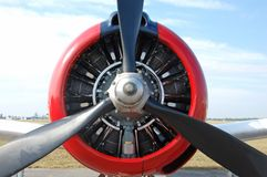 Μπροστινή όψη προωστήρων του εκλεκτής ποιότητας αεροπλάνου στοκ φωτογραφία