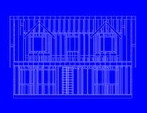 μπροστινή όψη σπιτιών πλαισί&omeg απεικόνιση αποθεμάτων