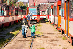μπροστινή όψη τραμ τραμ αποθηκών Στοκ Φωτογραφίες