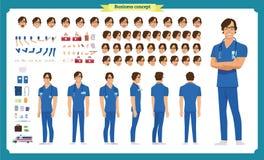 Μπροστινός, δευτερεύων, πίσω ζωντανεψοντας άποψη χαρακτήρας Η δημιουργία χαρακτήρα γιατρών που τίθεται με τις διάφορες απόψεις, α ελεύθερη απεικόνιση δικαιώματος