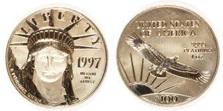 Μπροστινός και πίσω λευκόχρυσος νόμισμα εκατό δολαρίων Στοκ Φωτογραφία