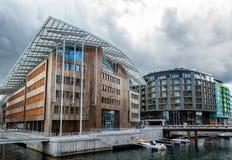 Μπροστινό λιμάνι νερού Brygge Aker στη Νορβηγία Στοκ Φωτογραφίες