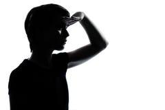 μπροστινό κορίτσι αγοριών που φαίνεται νεολαίες εφήβων σκιαγραφιών Στοκ Εικόνες