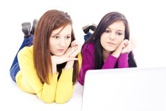 μπροστινό lap-top κοριτσιών Στοκ φωτογραφία με δικαίωμα ελεύθερης χρήσης