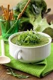 Μπρόκολο σούπας κρέμας με τα πράσινα arugula Στοκ εικόνα με δικαίωμα ελεύθερης χρήσης