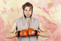 Μπόξερ γαντιών Ο τύπος στο γκρίζο αμάνικο hoodie φορά τα κόκκινα εγκιβωτίζοντας γάντια Στοκ Εικόνες