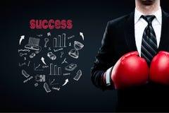 Μπόξερ επιχειρηματιών έννοιας επιτυχίας Στοκ Εικόνες