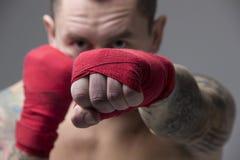 Μπόξερ που παρουσιάζει να επιτεθεί τεχνική Στοκ εικόνες με δικαίωμα ελεύθερης χρήσης