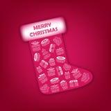 Μπότα Χριστουγέννων με τα δώρα Στοκ φωτογραφία με δικαίωμα ελεύθερης χρήσης