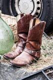 Μπότες κάουμποϋ από δεύτερο χέρι για το συλλέκτη μόδας ή μόδας χωρών Στοκ Εικόνες