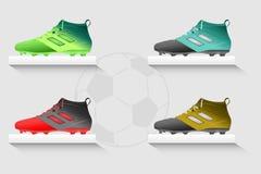 Μπότες ποδοσφαίρου καθορισμένες Στοκ Φωτογραφίες