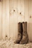Μπότες στο δέμα σανού Στοκ εικόνα με δικαίωμα ελεύθερης χρήσης