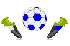Μπότες σφαιρών και ποδοσφαίρου ποδοσφαίρου Στοκ Εικόνα