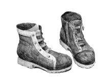 Μπότες φθινοπώρου σε ένα άσπρο υπόβαθρο διανυσματική απεικόνιση