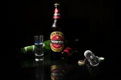 Μπύρα και βότκα Στοκ εικόνα με δικαίωμα ελεύθερης χρήσης