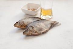 Μπύρα και καρύδια crucian δύο ξηρά ψαριών σε ένα κύπελλο Στοκ εικόνες με δικαίωμα ελεύθερης χρήσης