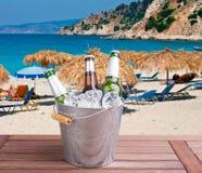 Μπύρα στην παραλία στοκ εικόνα με δικαίωμα ελεύθερης χρήσης