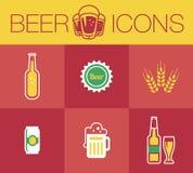 Μπύρα, σύνολο εικονιδίων Στοκ Φωτογραφία