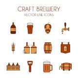 Μπύρα τεχνών και διανυσματικό εικονίδιο γραμμών ζυθοποιείων που τίθεται καφετής και πορτοκαλής Στοκ Εικόνες
