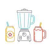 Μπλέντερ κουζινών και δύο βάζα κτιστών με το καταφερτζή ελεύθερη απεικόνιση δικαιώματος