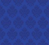 Μπλε άνευ ραφής διανυσματικό σχέδιο επανάληψης Κομψό σχέδιο στην μπαρόκ σύσταση υποβάθρου ύφους διανυσματική απεικόνιση
