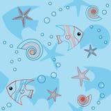 Μπλε άνευ ραφής πρότυπο με τη ζωή θάλασσας Στοκ φωτογραφία με δικαίωμα ελεύθερης χρήσης