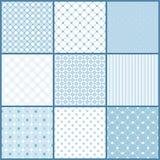 Μπλε άνευ ραφής σχέδια καθορισμένα Στοκ Εικόνες