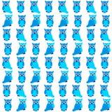 Μπλε άνευ ραφής σχέδιο κουκουβαγιών Στοκ εικόνα με δικαίωμα ελεύθερης χρήσης