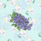 Μπλε άνευ ραφής σχέδιο με την πασχαλιά και τα λουλούδια Στοκ φωτογραφία με δικαίωμα ελεύθερης χρήσης