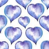 Μπλε άνευ ραφής σχέδιο των καρδιών για το βαλεντίνο Στοκ Εικόνες
