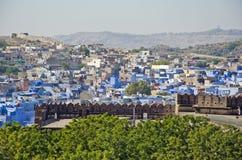 Μπλε άποψη πόλεων του Jodhpur από το οχυρό Mehrangarh, Rajasthan, Ινδία Στοκ Φωτογραφίες