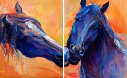 Μπλε άλογα ελεύθερη απεικόνιση δικαιώματος