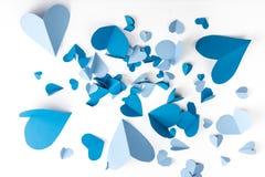 Μπλε έγγραφο καρδιών Στοκ φωτογραφία με δικαίωμα ελεύθερης χρήσης