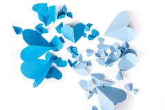 Μπλε έγγραφο καρδιών Στοκ Εικόνα