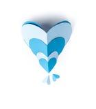 Μπλε έγγραφο καρδιών Στοκ εικόνα με δικαίωμα ελεύθερης χρήσης