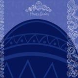 Μπλε έμβλημα αυγών υποβάθρου Πάσχας Στοκ εικόνες με δικαίωμα ελεύθερης χρήσης
