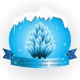 Μπλε έμβλημα με ένα χριστουγεννιάτικο δέντρο Στοκ εικόνα με δικαίωμα ελεύθερης χρήσης